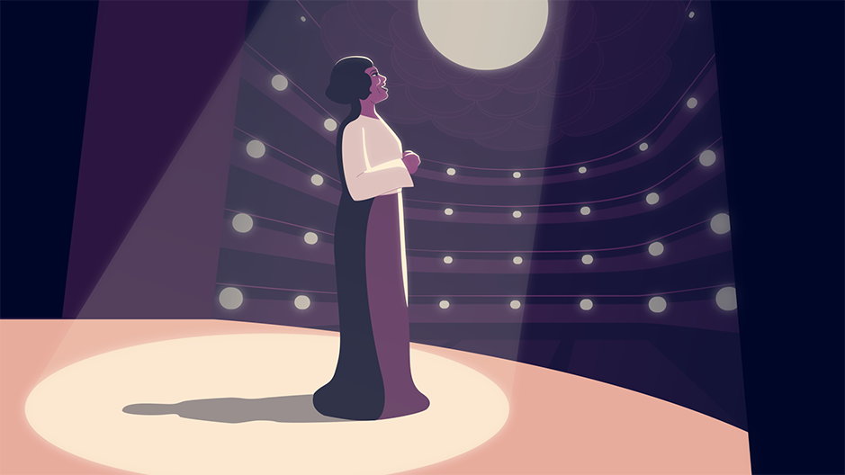 Illustration of Marian Anderson singing at New York's Metropolitan Opera House