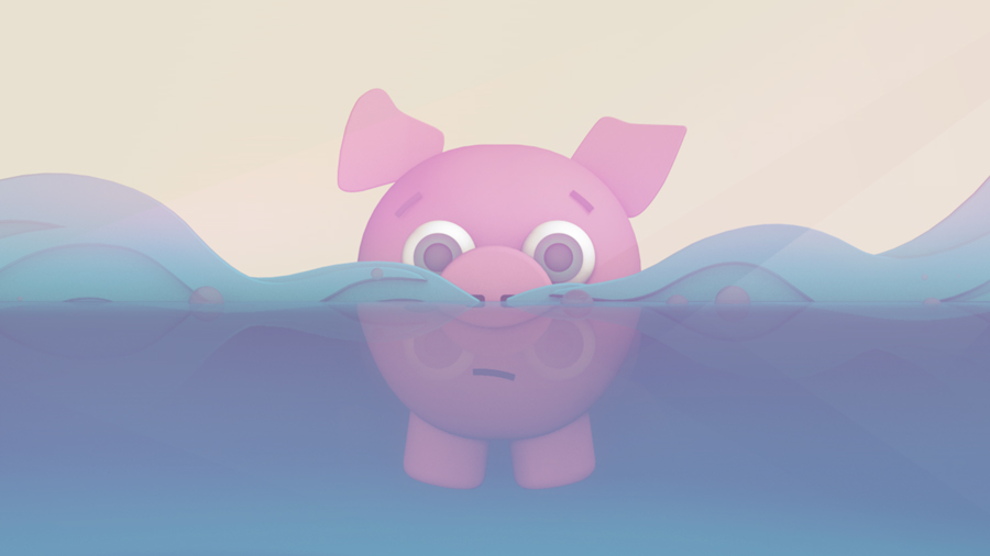 "Animating the 2D ""Floating Pig"" Illustration in 3D"